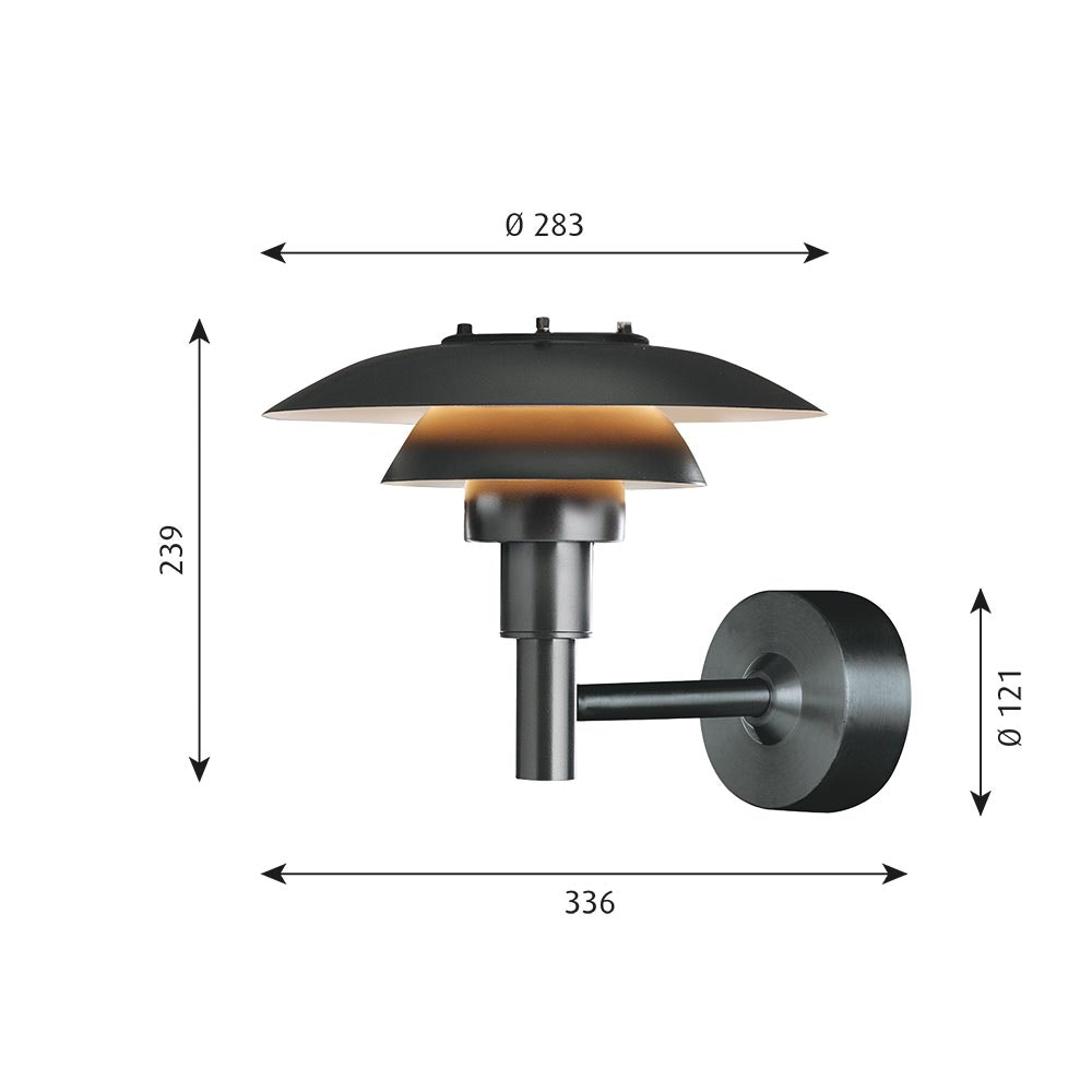 Louis Poulsen Außen-Wandlampe PH 3-2½ IP44 Schwarz thumbnail 5
