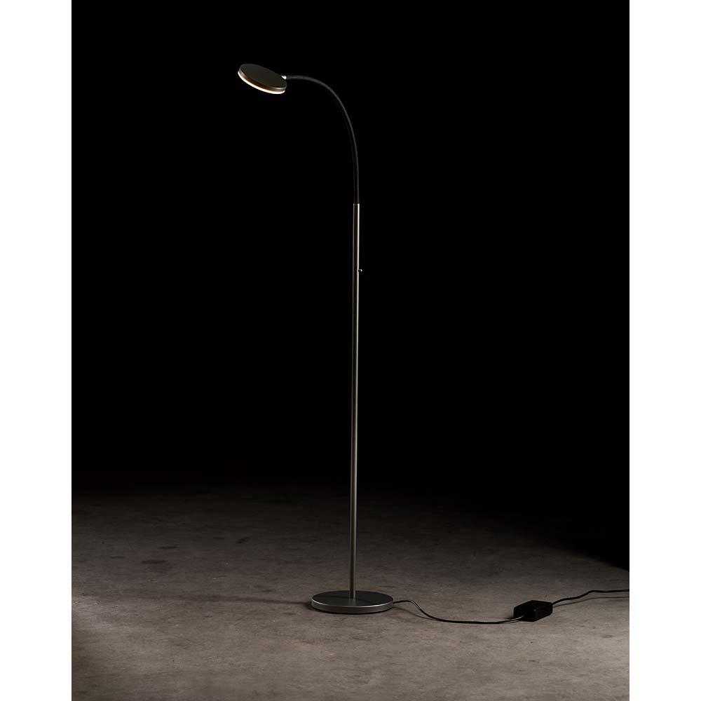 Holtkötter LED-Stehleuchte FLEX S Platin, Schwarz mit Tastdimmer 2200lm 2700K