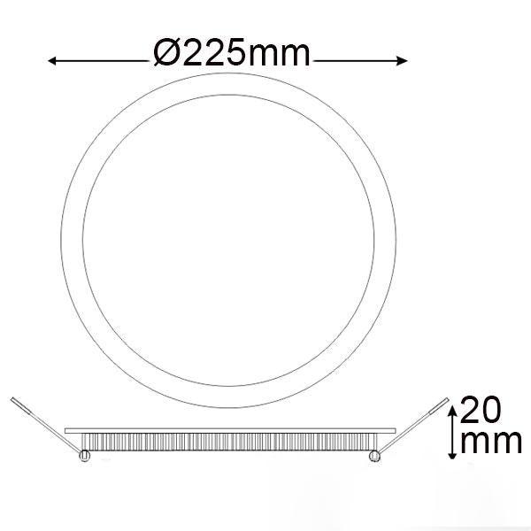 LED Einbaupanel Ø 22,5cm flach rund weiss dimmbar 18W warmweiss 3