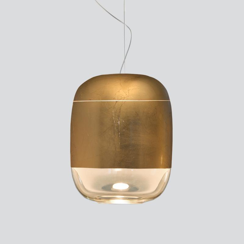 Prandina Hängelampe modern Gong S3 Blattgold 2