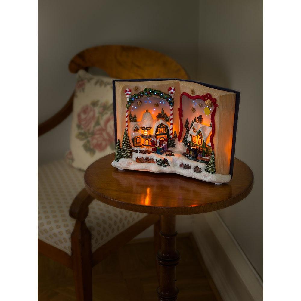 LED Fiberoptikszenerie Buch mit Landschaft Weihnachtsliedern batteriebetrieben 1