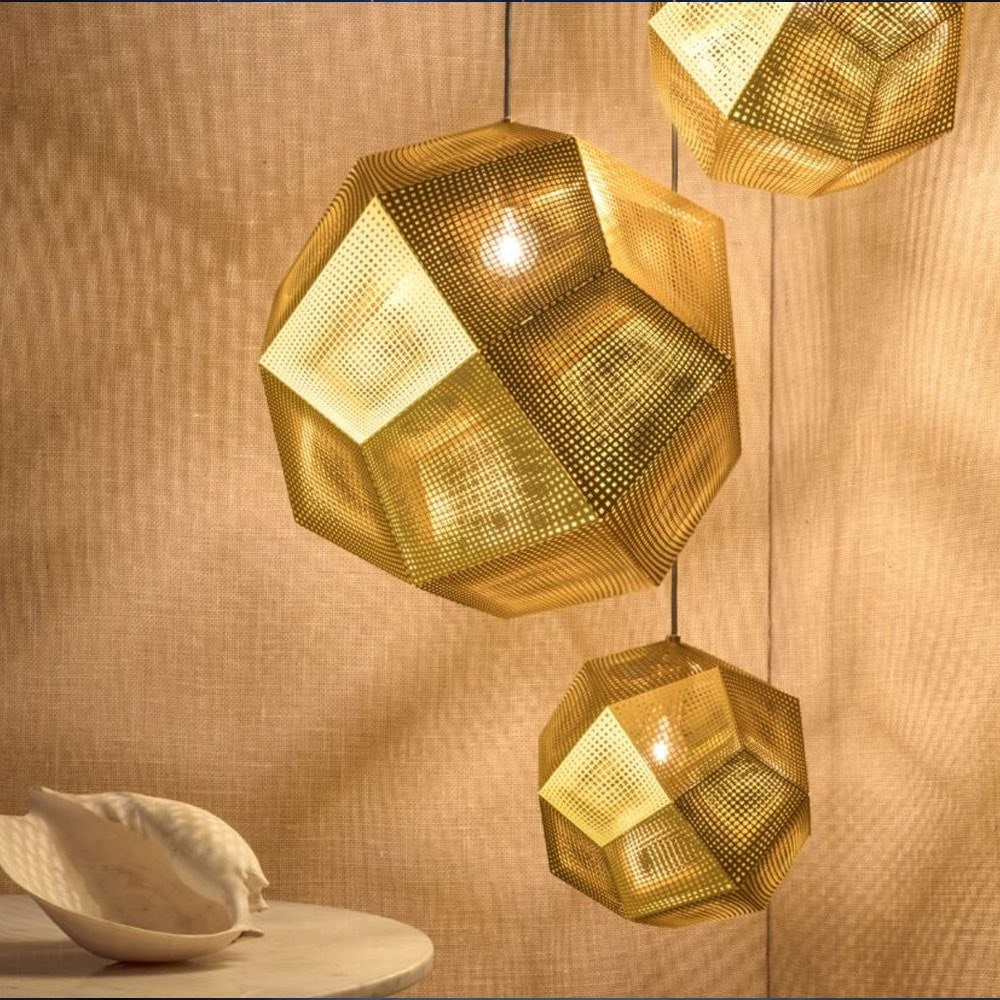 Tom Dixon Etch 3er Mobile Pendellampe Gold thumbnail 3