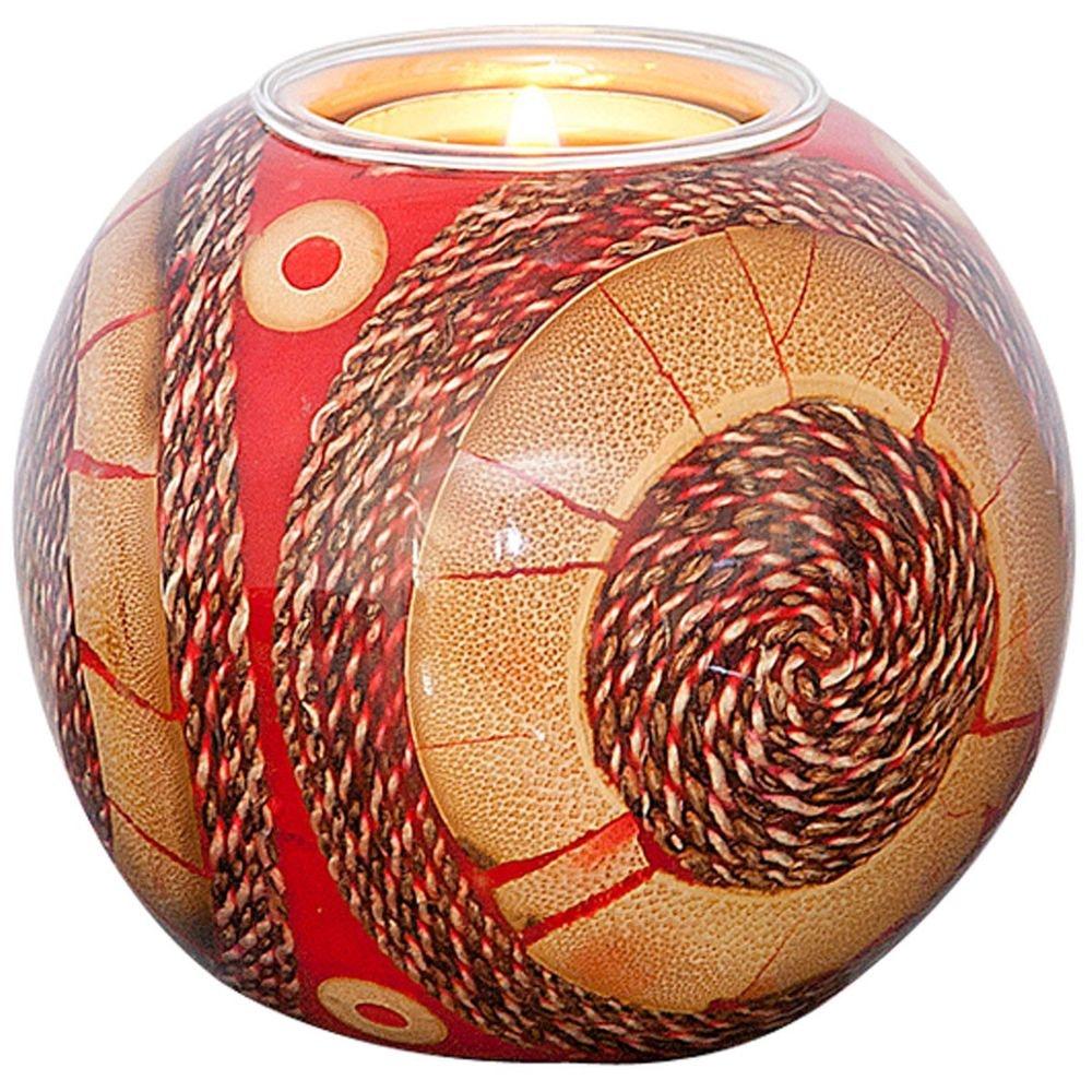 Kugelleuchter Gioiello Kunstharz-Naturmaterialien Rot-Sand 2