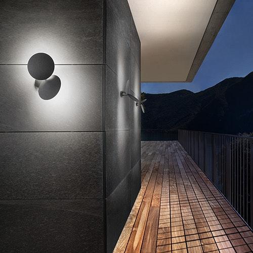 Studio Italia Design Puzzle Round Outdoor Double LED Wandlampe thumbnail 3