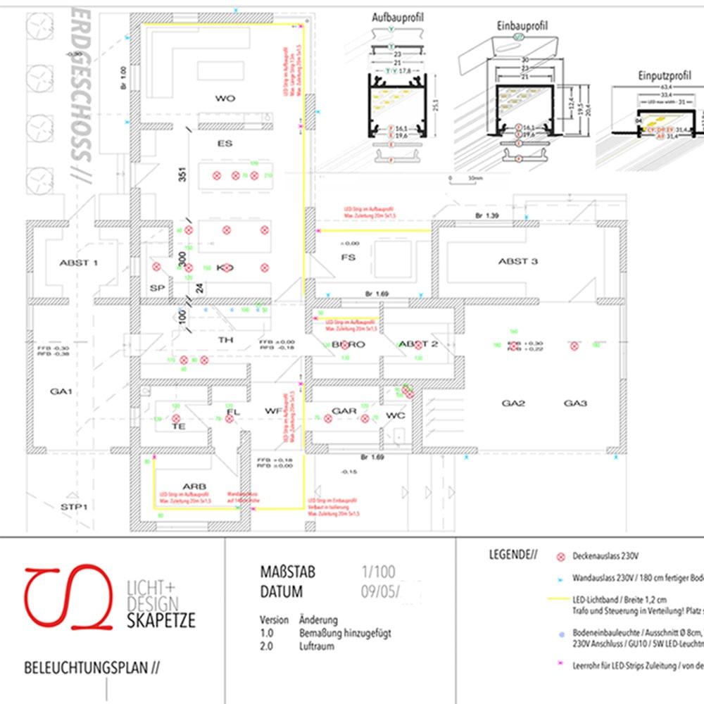 Lichtkonzept & Installationsplan bei Skapetze