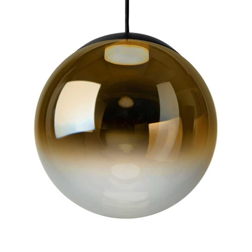 LED Pendelleuchte Kugel Reflex Ø 40cm Glas Schwarz, Goldfarben
