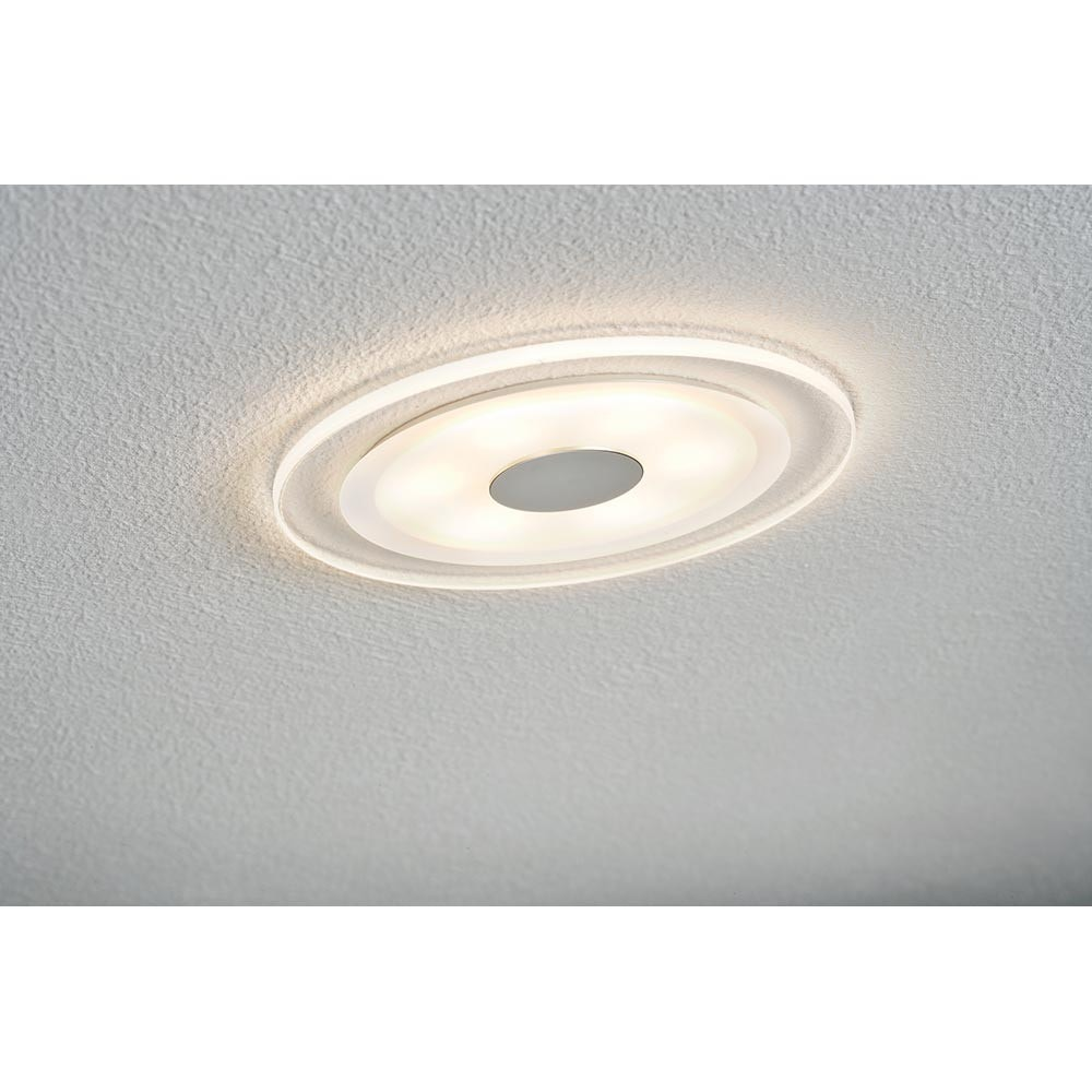 Premium EBL Set Whirl rund LED 1x6W Alu-Gedreht Satin Alu Acryl 2