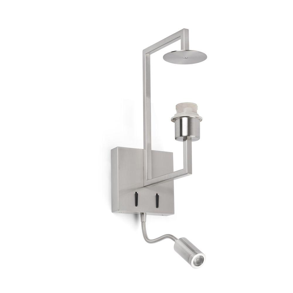 Wandlampe FRAME mit LED-Lesespot ohne Schirm Nickel-Matt