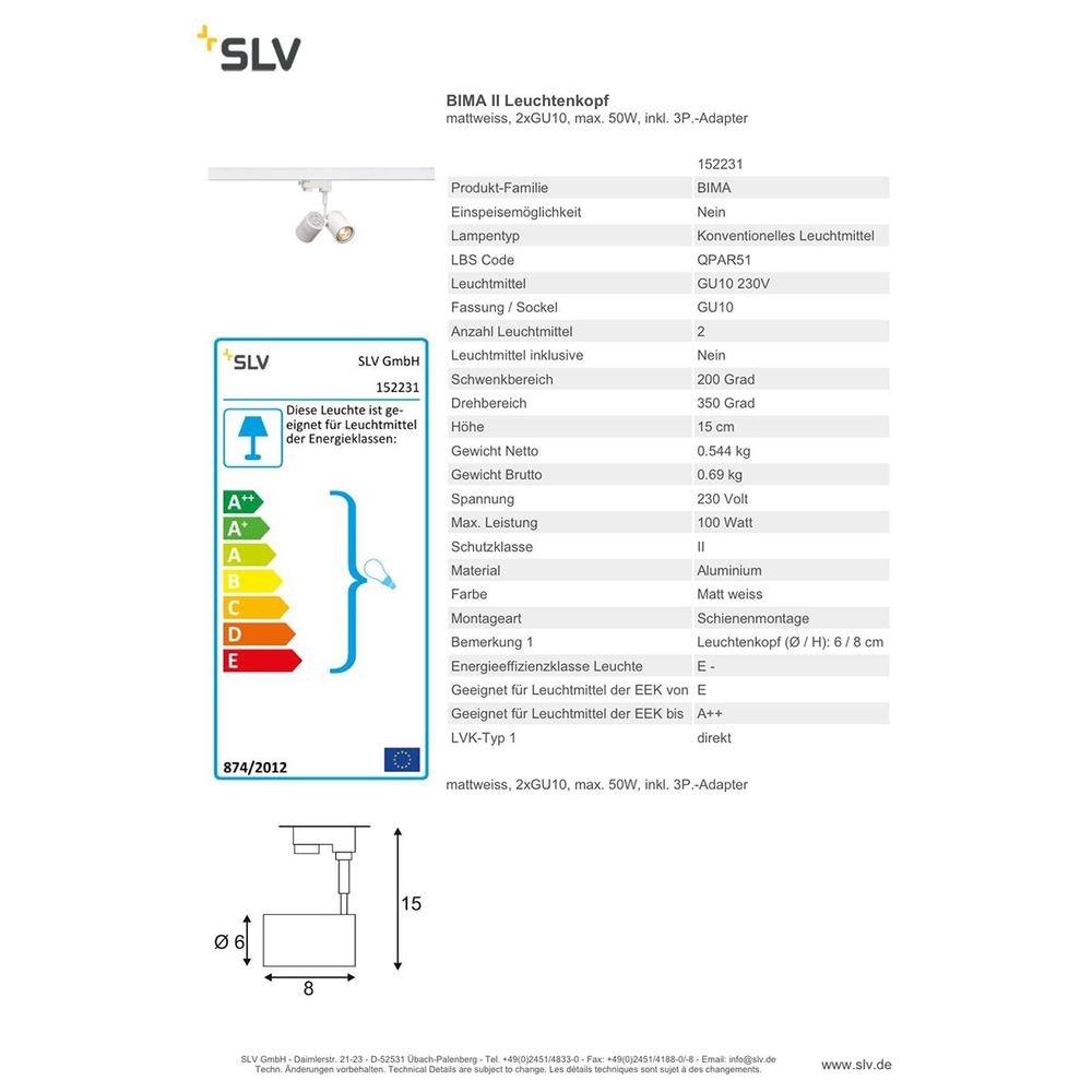 SLV BIMA II Leuchtenkopf Weiß 2xGU10 max. 50W inkl. 3P.-Adapter 2