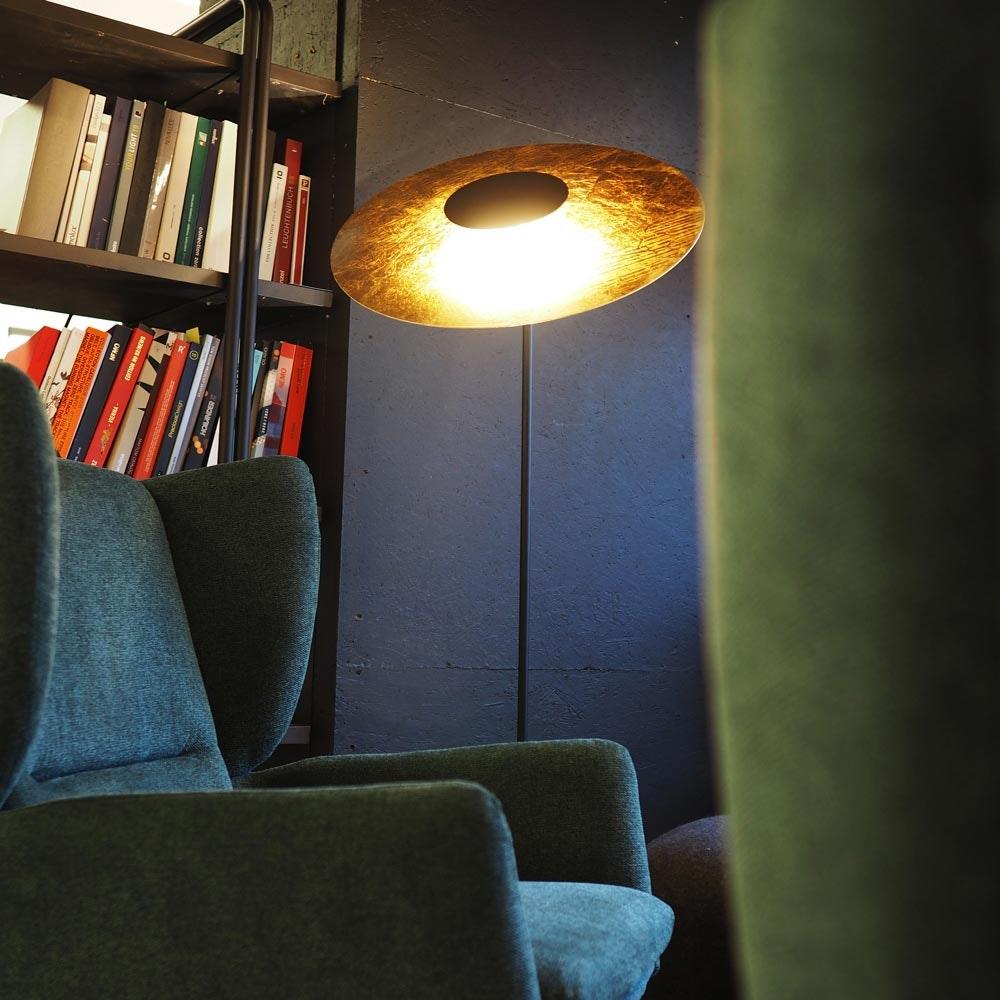 s.LUCE LED-Stehleuchte Plate mit Mamorfuß & Wendereflektor