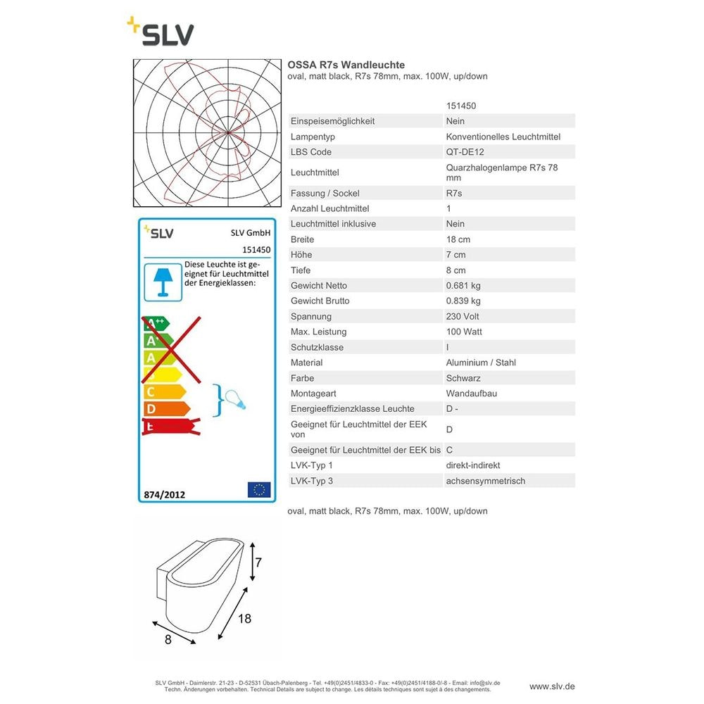 SLV OSSA R7s Wandleuchte Oval matt black R7s 78mm max. 100W Up/Down thumbnail 4