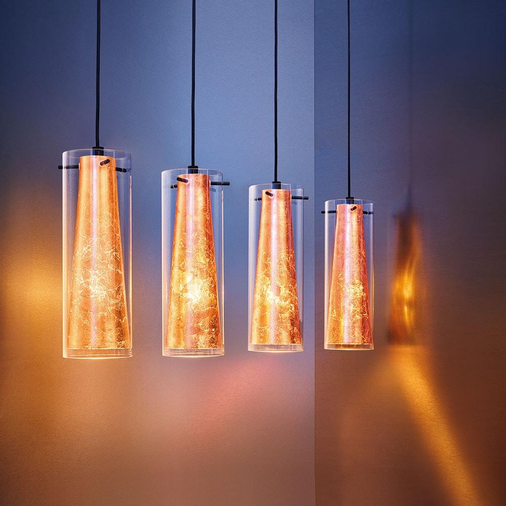 Licht-Trend Hängeleuchte Belem 4-flg. aus Glas, Goldfarben 1