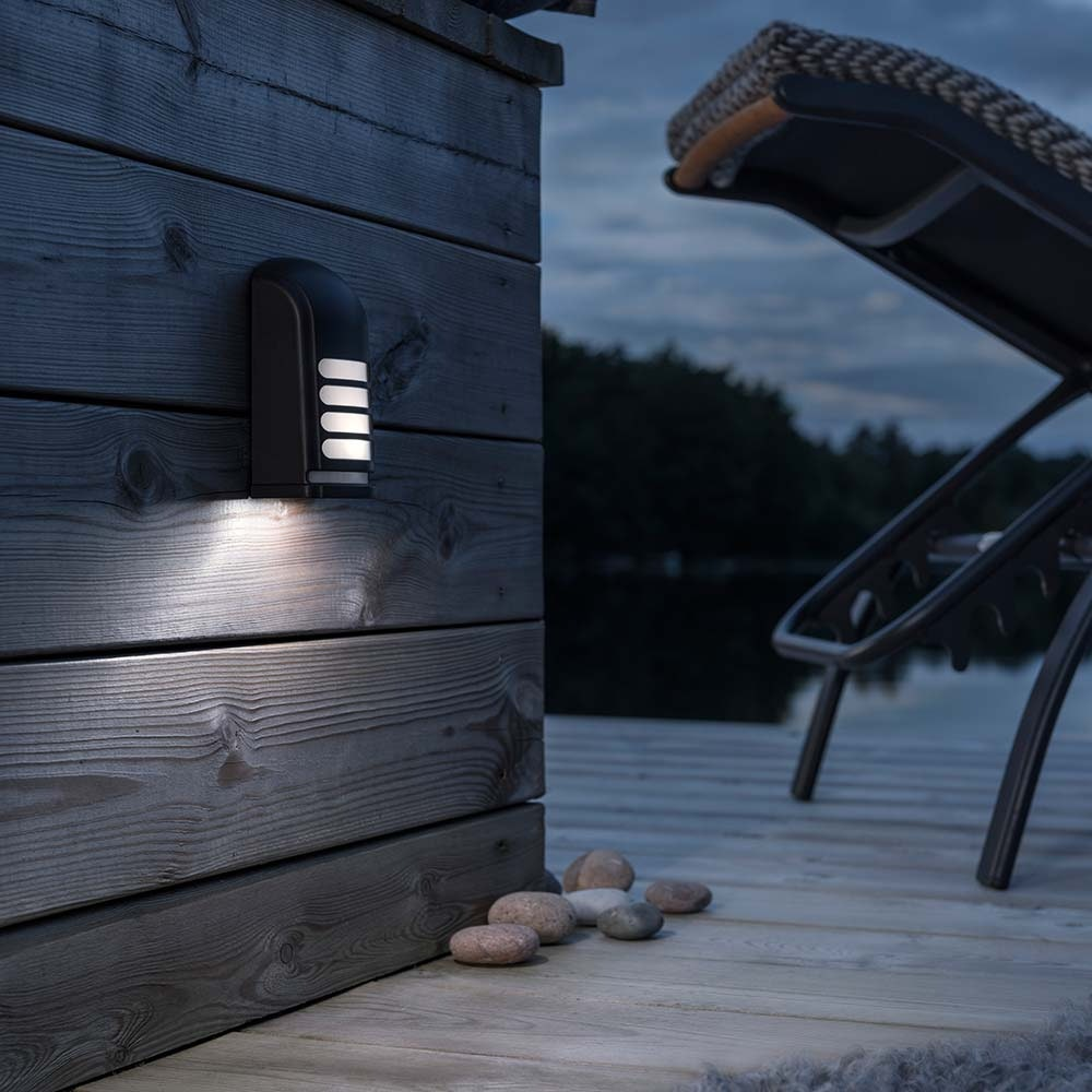 Prato Batterie LED Wandaufbauleuchte mit Bewegungsmelder 12V Schwarz 1
