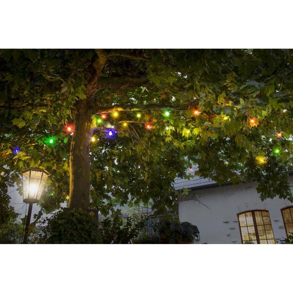 LED Biergartenketten System Erweiterung Lichterkette 10 bunte Birnen 80 warmweiße Dioden IP44 6