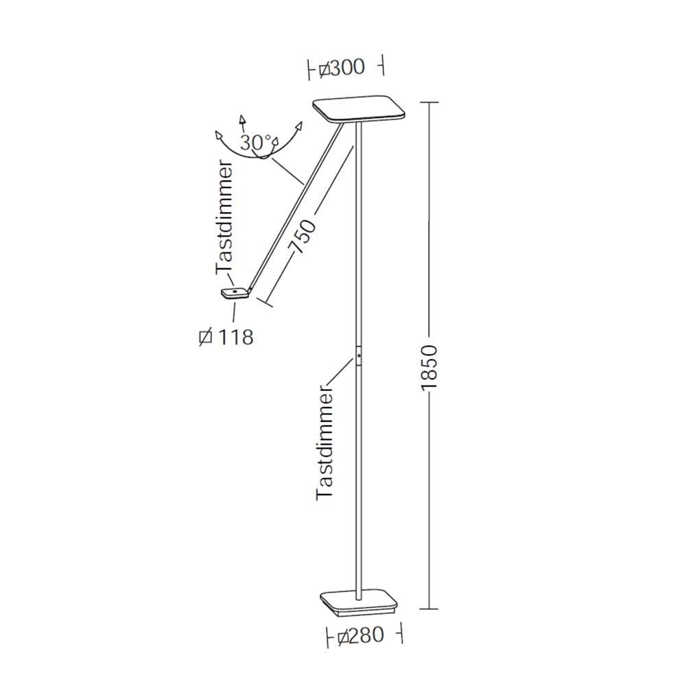 LED-Deckenfluter Plano VL185cm mit 2 Tastdimmer 4300lm Schwarz thumbnail 3