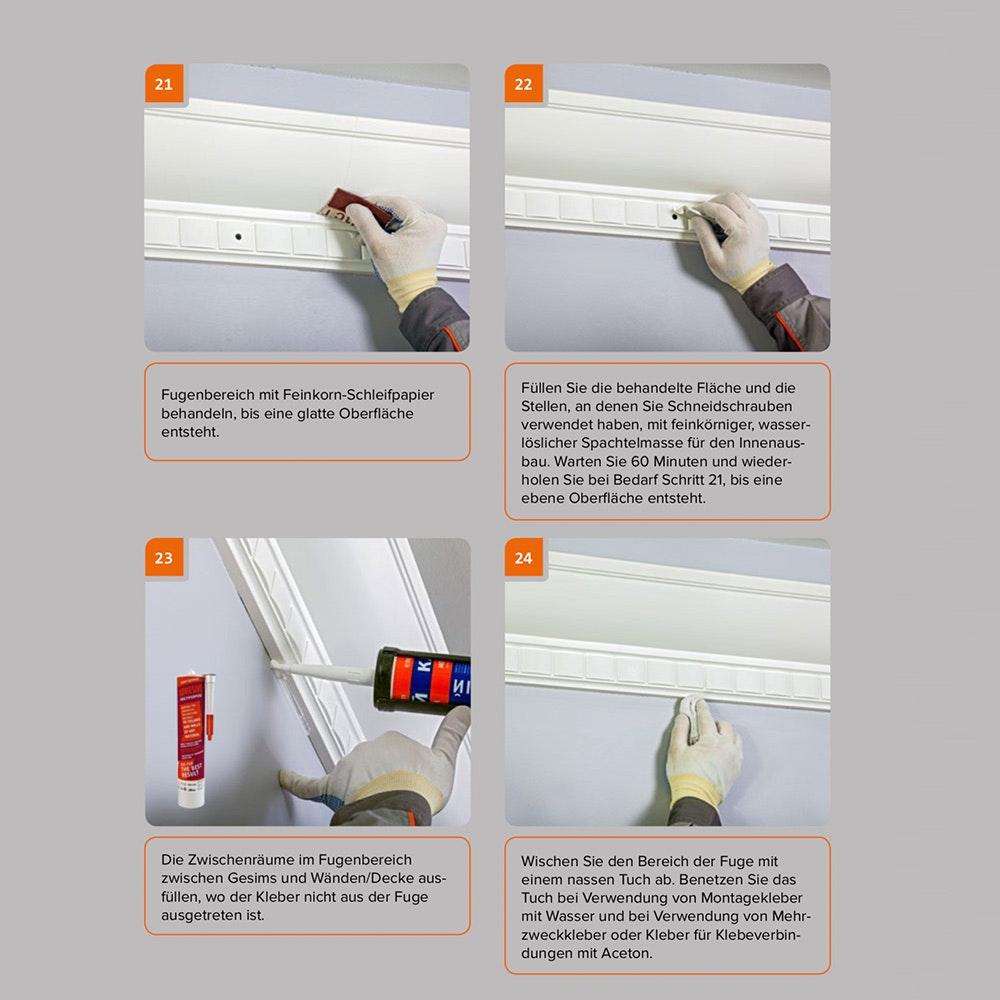Dekor-Profil M Stuckleiste 1,2 m indirekt Wand oder Decke 15
