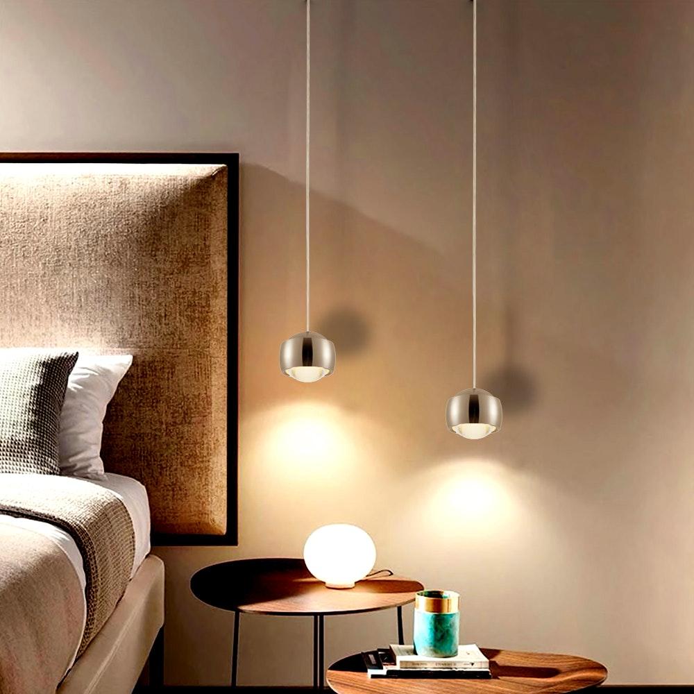 s.LUCE Beam LED Hängeleuchte mit Glaslinse Ø 12cm Alu-Gebürstet