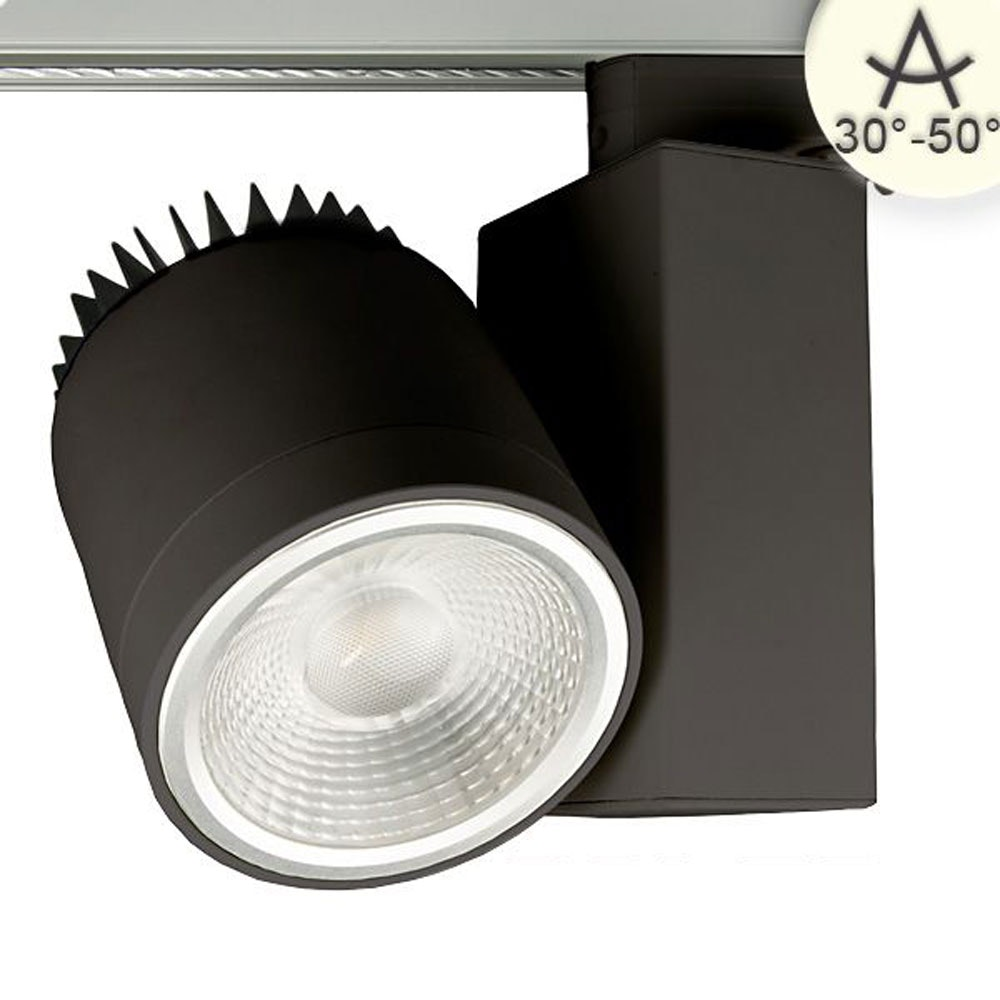 3-Phasen Power-LED Strahler 2700lm 3000K fokussierbar Schwarz dimmbar