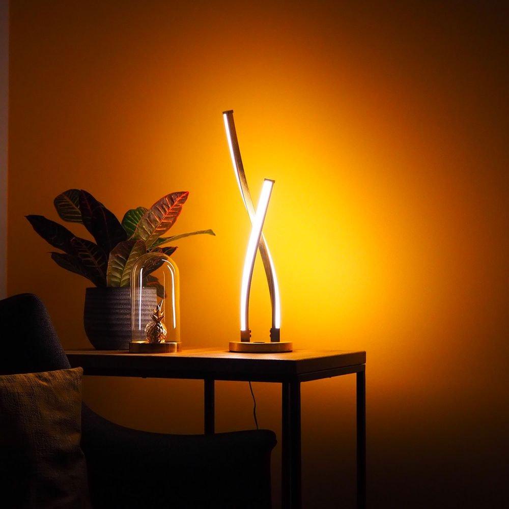 LED Design-Tischleuchte mit Touch-Dimmer Goldfarben