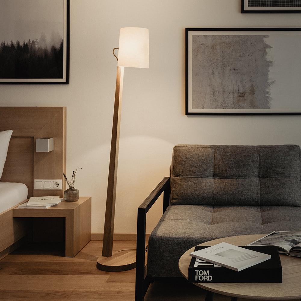 Holz Stehlampe mit Schirm Zylindrisch 167cm 5