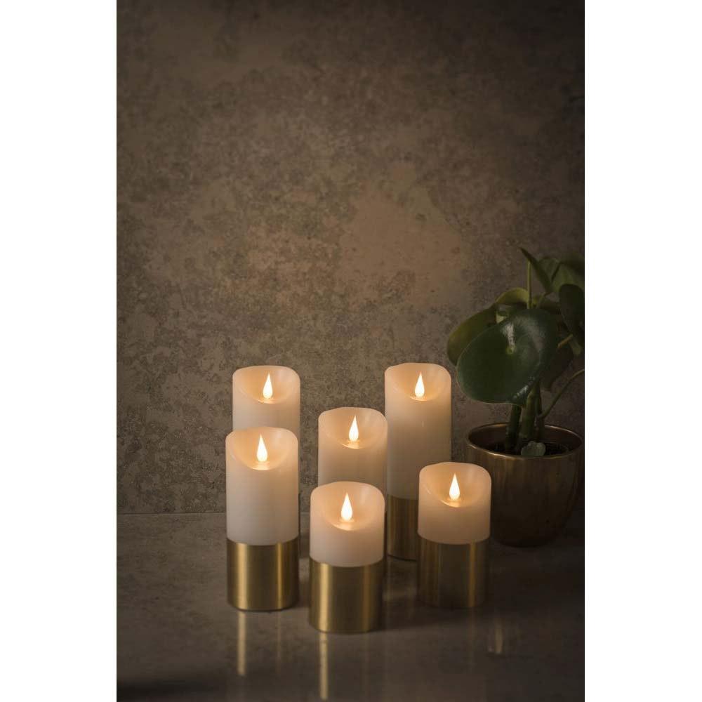 LED Kerze Echtwachs weiß mit messingfarbener Banderole 3D Flamme Timer warmweiß batteriebetrieben 2