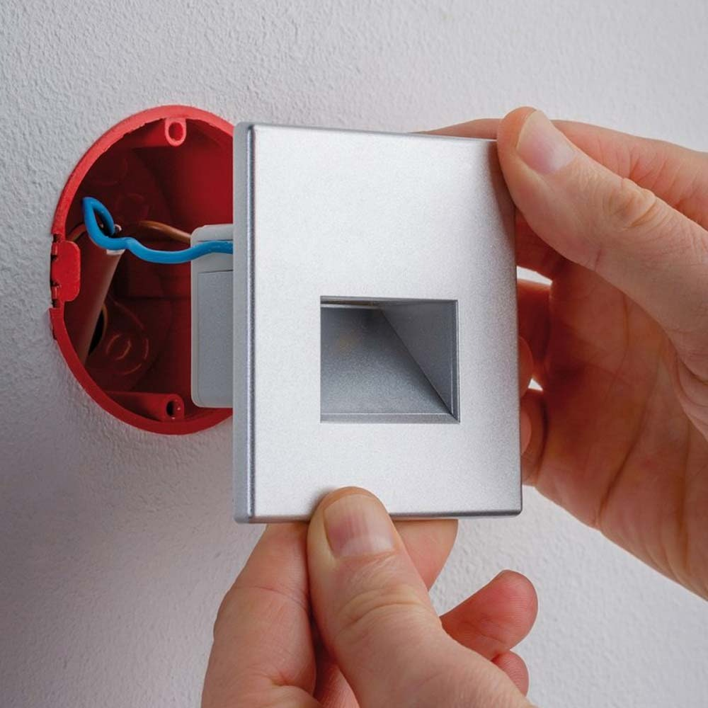 LED Wandeinbauleuchte Box 8 x 8cm 116lm Alu-Matt 2
