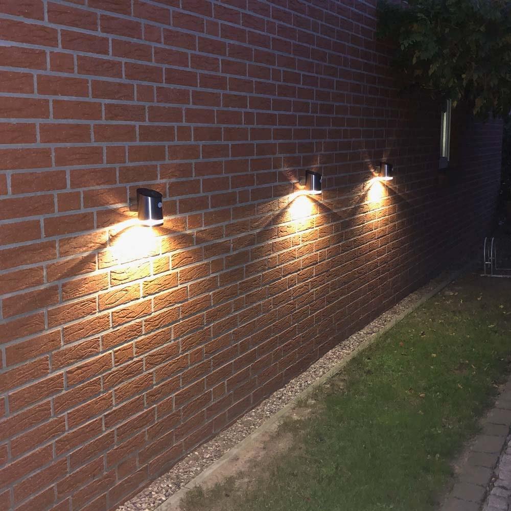 Premium LED Solar Wandleuchte mit Bewegungsmelder Edelstahl 3