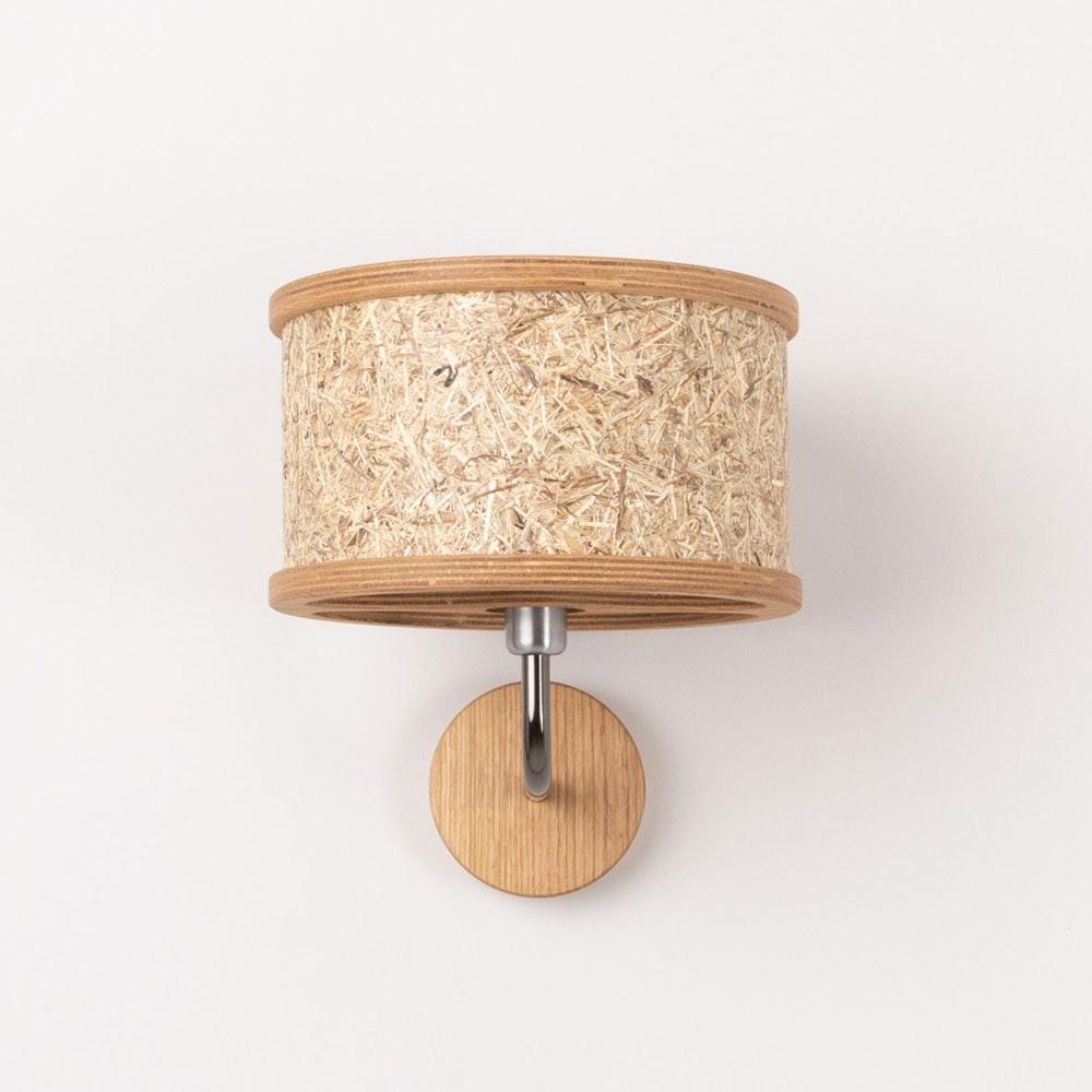 Holz Wandleuchte Ø 25cm mit Heuschirm thumbnail 4