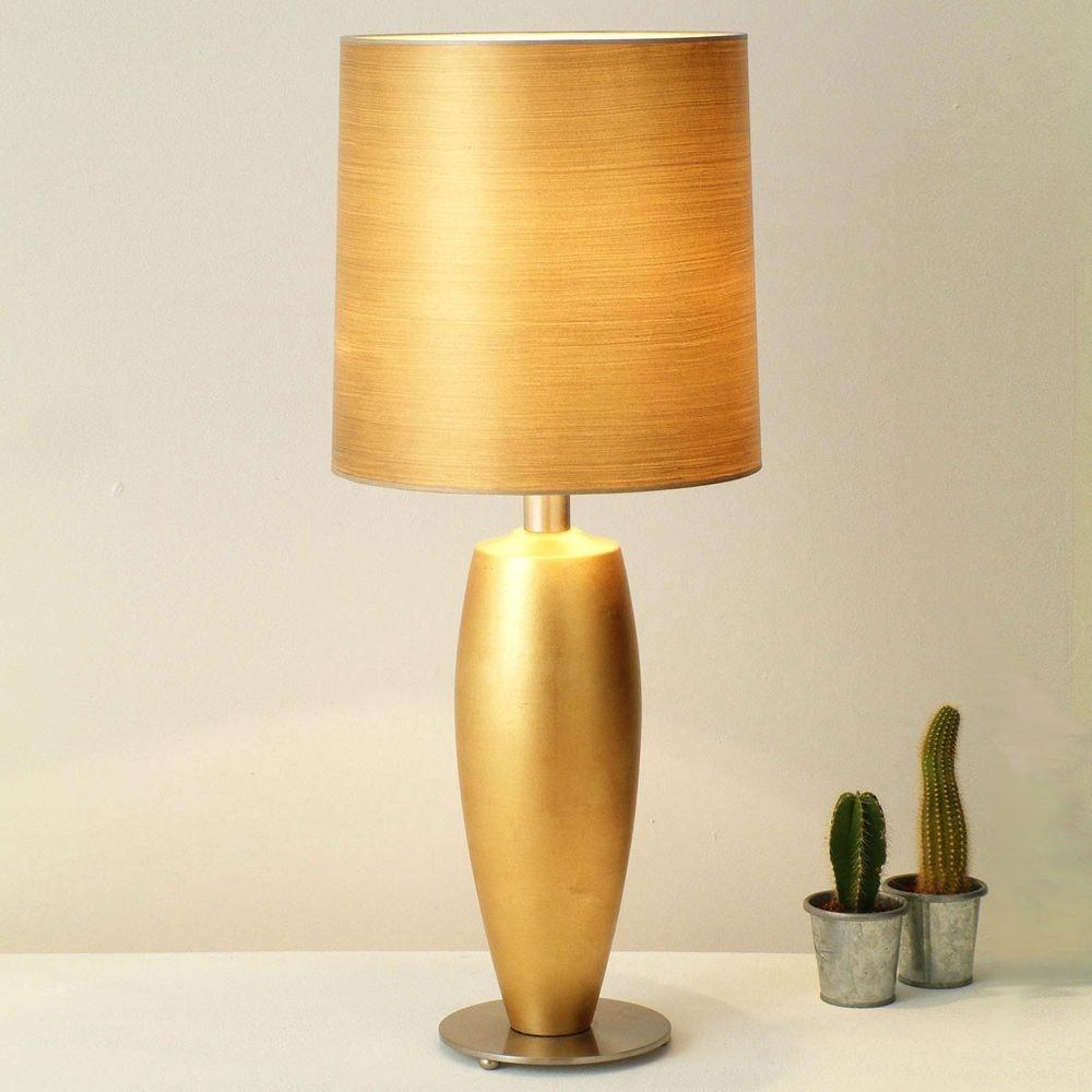Tischleuchte Omega Sottile Keramik-Metall Blattvergoldet-Vernickelt 1