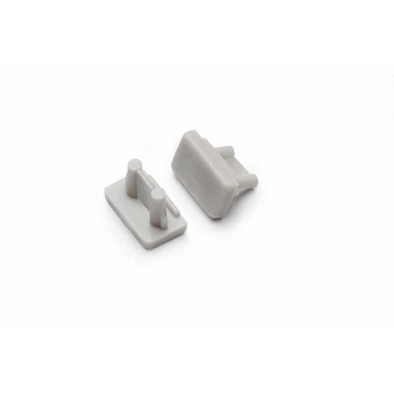 Endkappen 2er Set für Aufbauprofil mini Typ A Silber