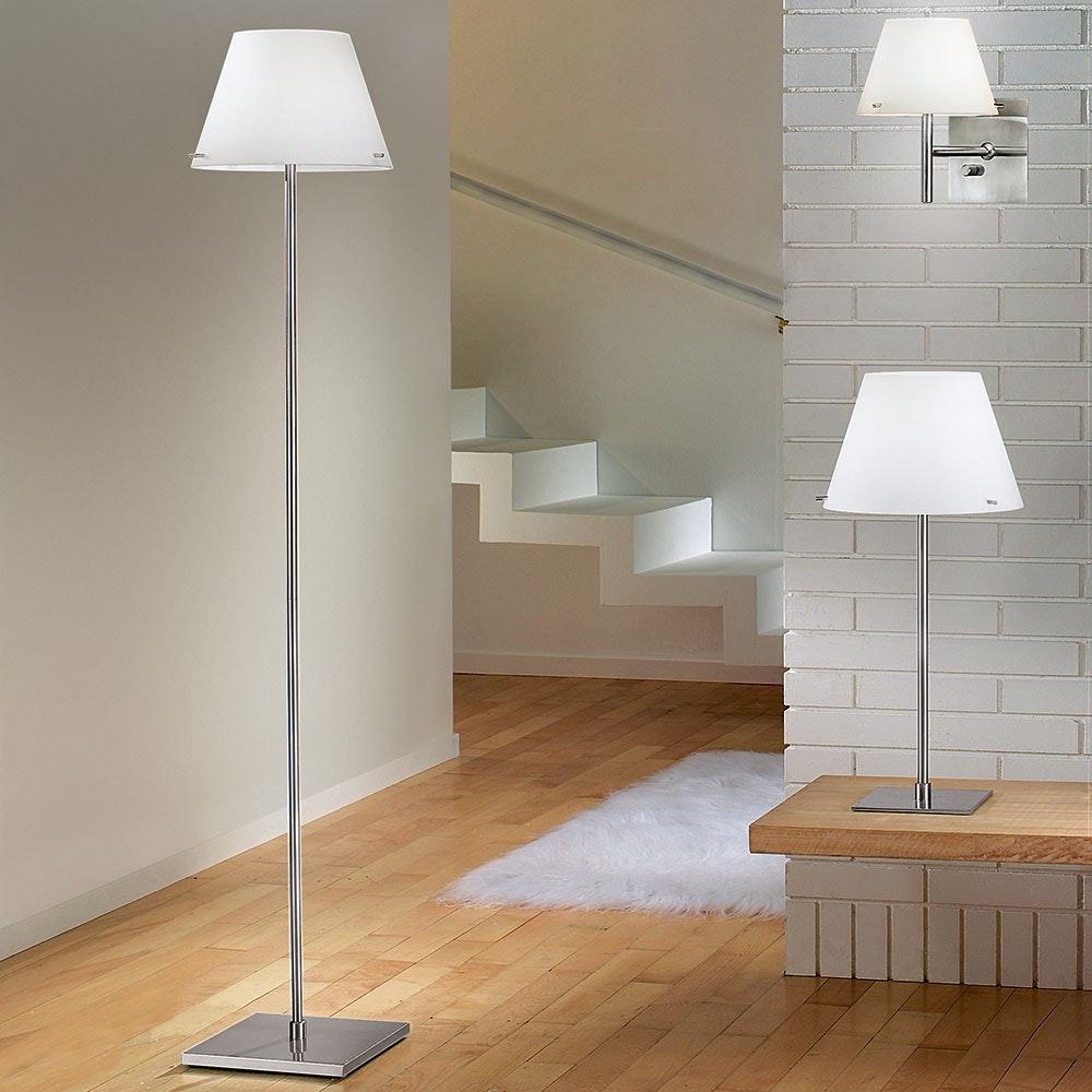Alexia Tischleuchte mit LED-Dimmer & Glasschirm Nickel-Satiniert, Weiß 2