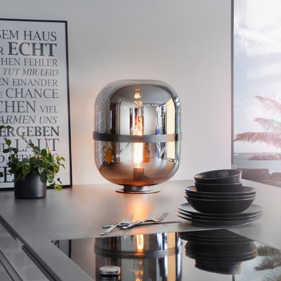 Glas Tischleuchte Baloni 45cm Dunkelgrau, Rauchfarben