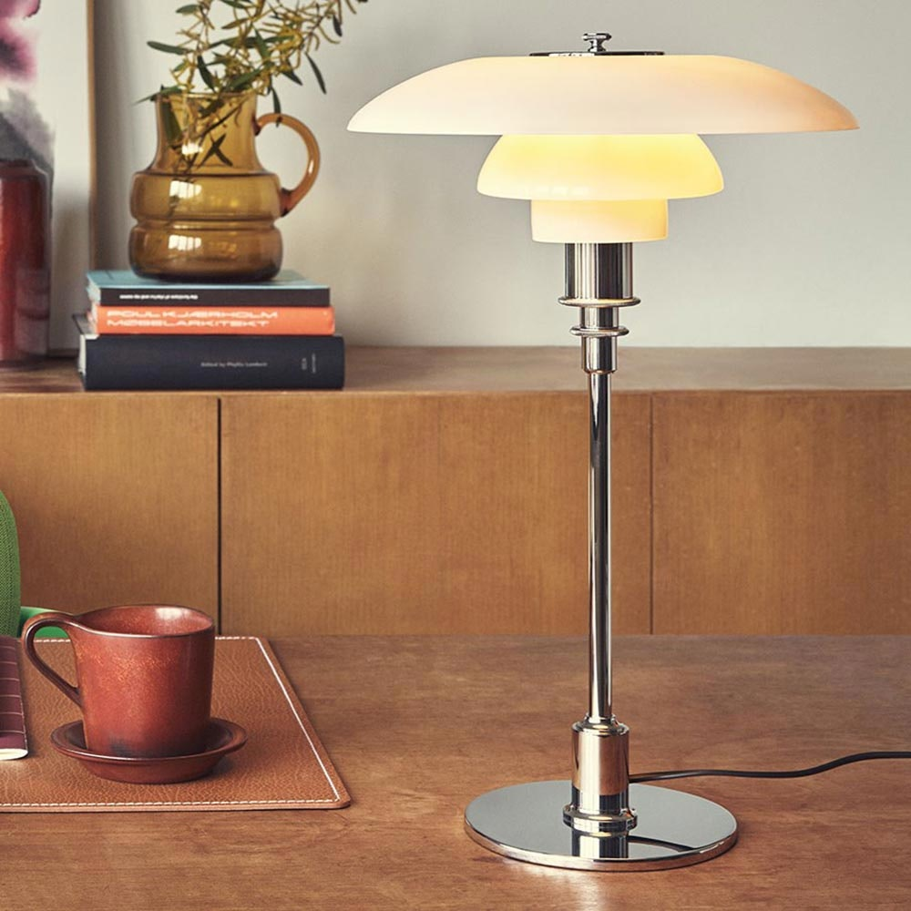 Louis Poulsen Glas Tischlampe PH 4½ - 3½ Chrom 2