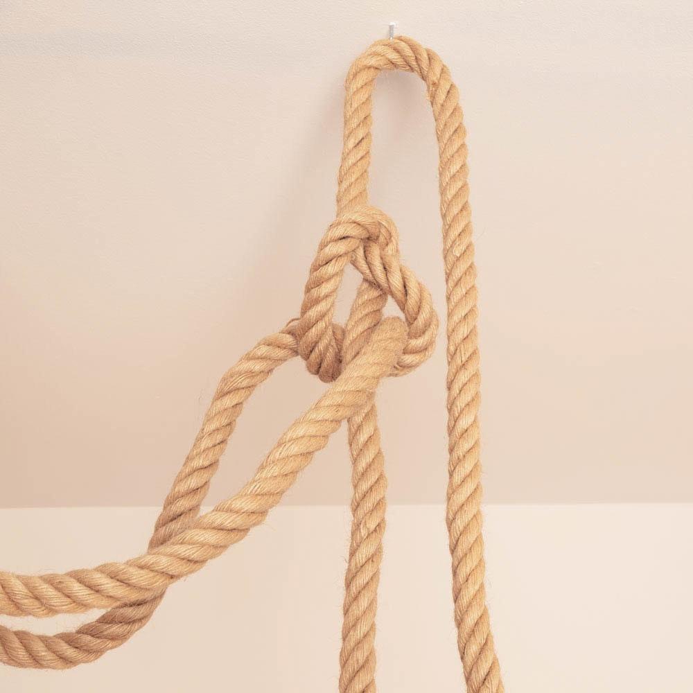 s.LUCE Rope 3flg. Seil-Hängelampe Braun + Modular Baldachin Ø 40cm Schwarz 3
