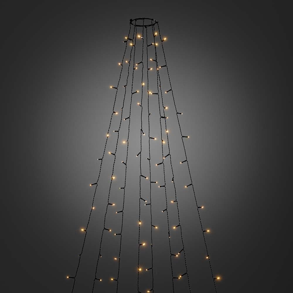 LED Baummantel mit Ring 8 Stränge mit 50 Dioden Glimmereffekt 400 bernsteinfarbene Dioden IP44 4