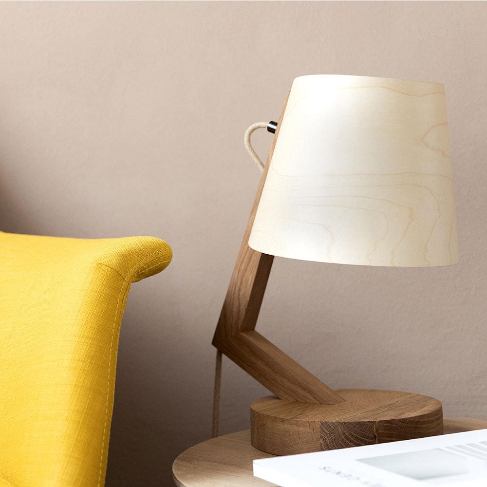 Holz Tischlampe mit Schirm Zylindrisch 2