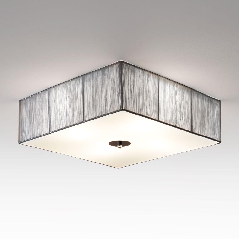 s.LUCE Twine Stoff-Deckenleuchte 45x45cm Silberfarben 2