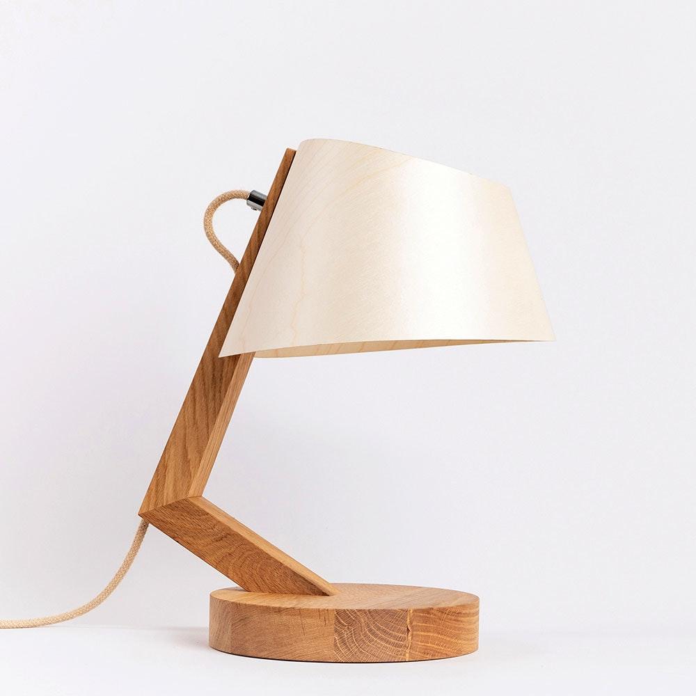 Holz Tischleuchte mit Schirm geschwungen 1