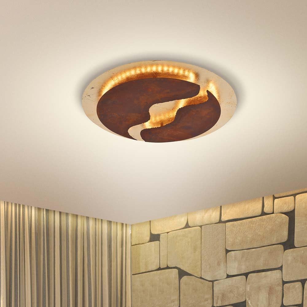 Nevis LED-Deckenleuchte blattgold-rost dimmbar über Schalter 1