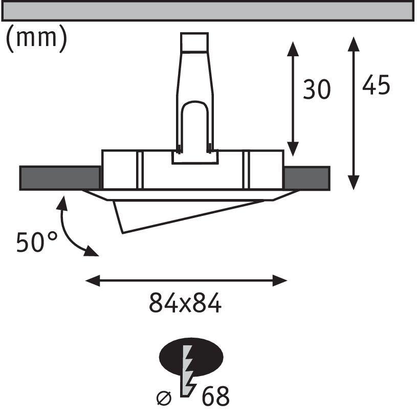 3er-Set Einbauleuchte LED Nova eckig 3-Stufen Dimmbar Alu-Gedreht 3
