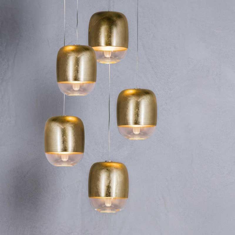Prandina Treppenhaus Pendel Gong Mini 5-flammig Goldfarben