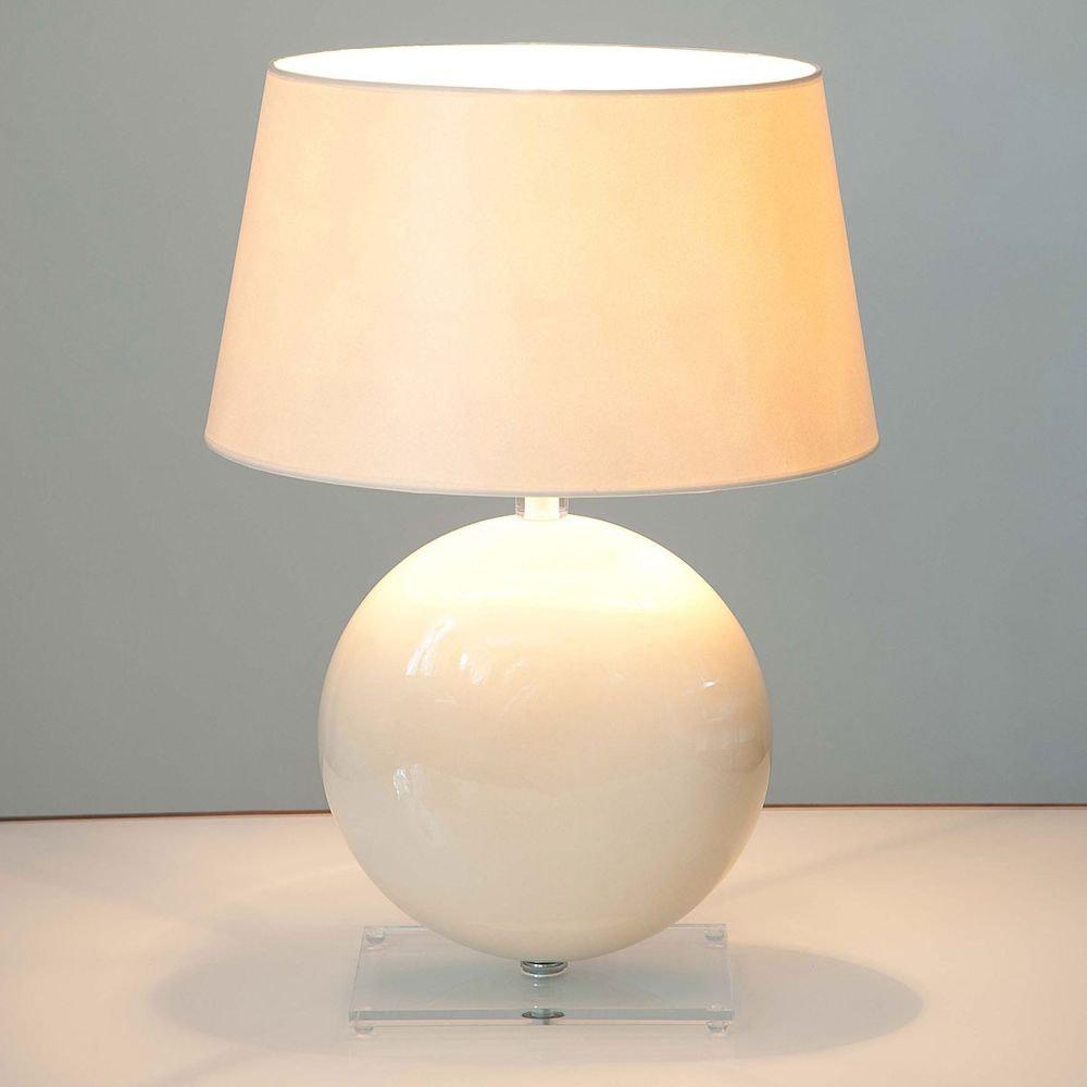 Tischleuchte Billiardo Keramik-Plexiglas Creme-Klar