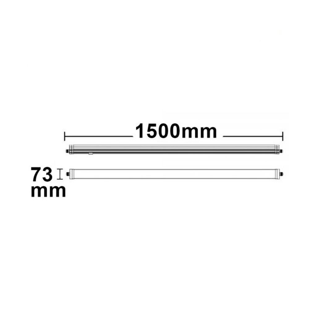 LED Profi Linienleuchte 150cm Wannenleuchte 5100lm IP66 neutralweiß 3