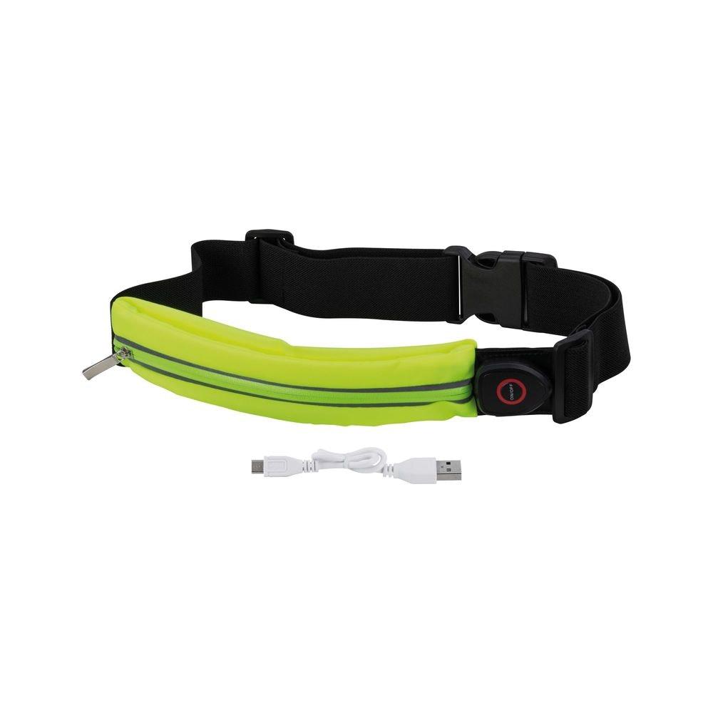 LED Laufgurt mit Smartphone-Fach inkl. USB und Akku Gelb 2