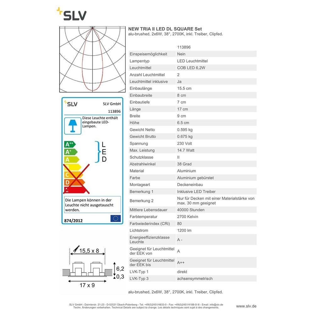 SLV New Tria II LED DL Square Set Alu-Gebürstet 2x6W 38° 2700K inkl. Treiber Clipfed. 4