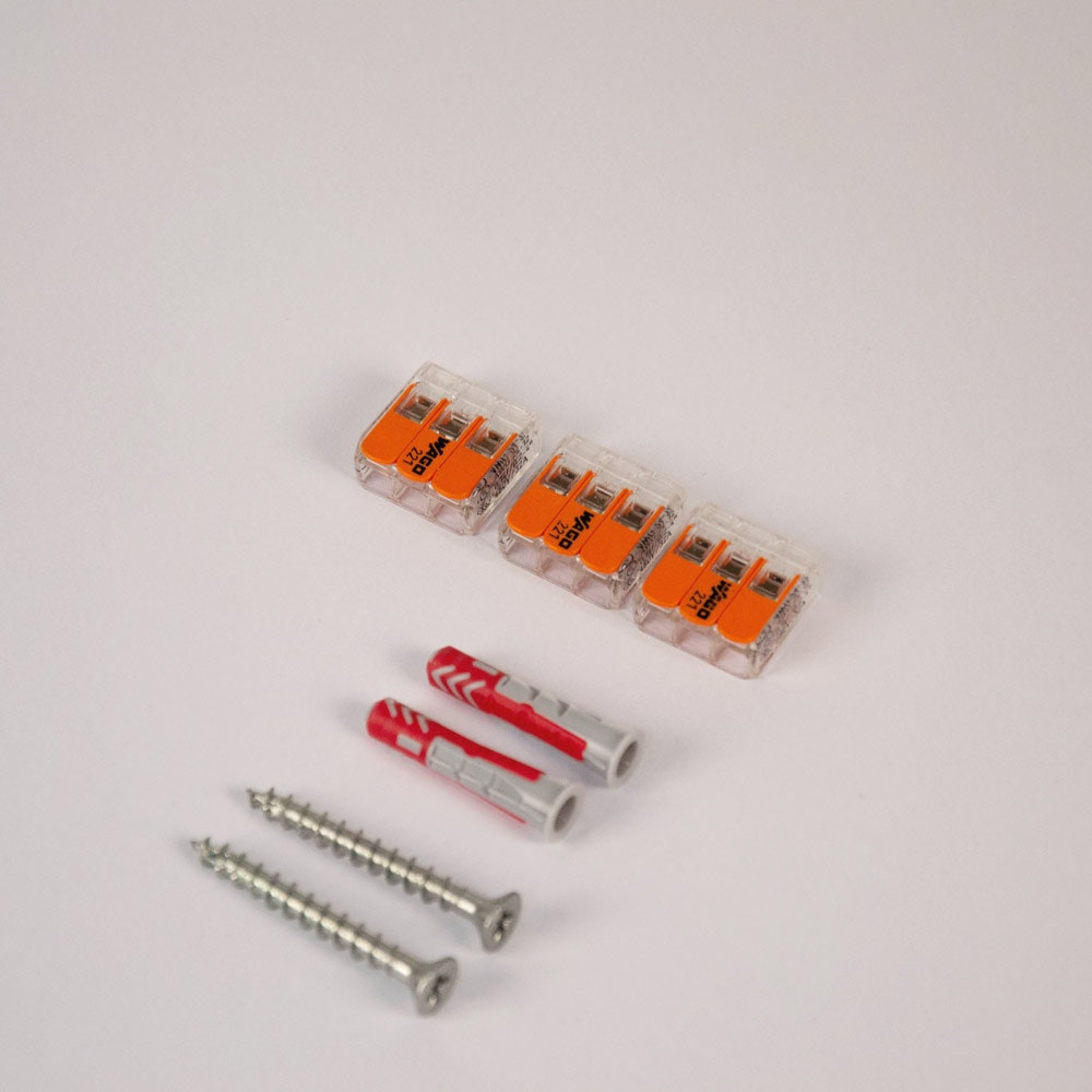Montageset mit 3x Wago Klemme & 2x Fischer 6er Dübel + 2x PZ-Schraube 2