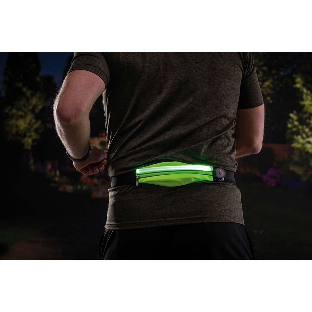 LED Laufgurt mit Smartphone-Fach inkl. USB und Akku Gelb 12