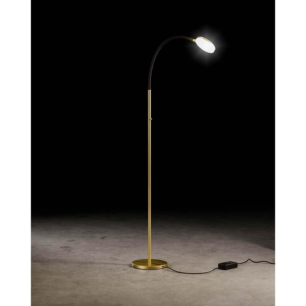 Holtkötter LED-Stehleuchte FLEX S Alu-Matt, Schwarz mit Tastdimmer 2200lm 2700K 1