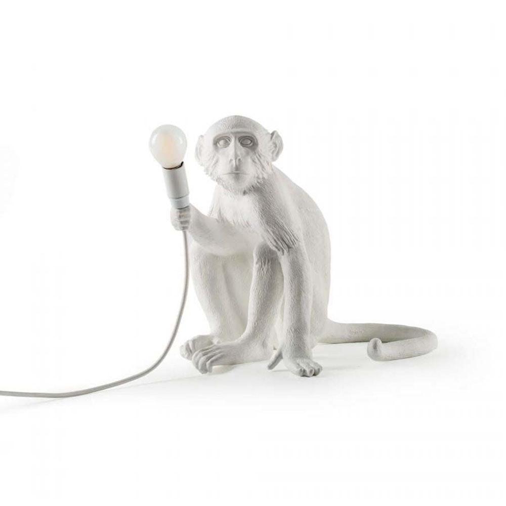 Seletti Monkey Aussen-Tischleuchte sitzend Weiß