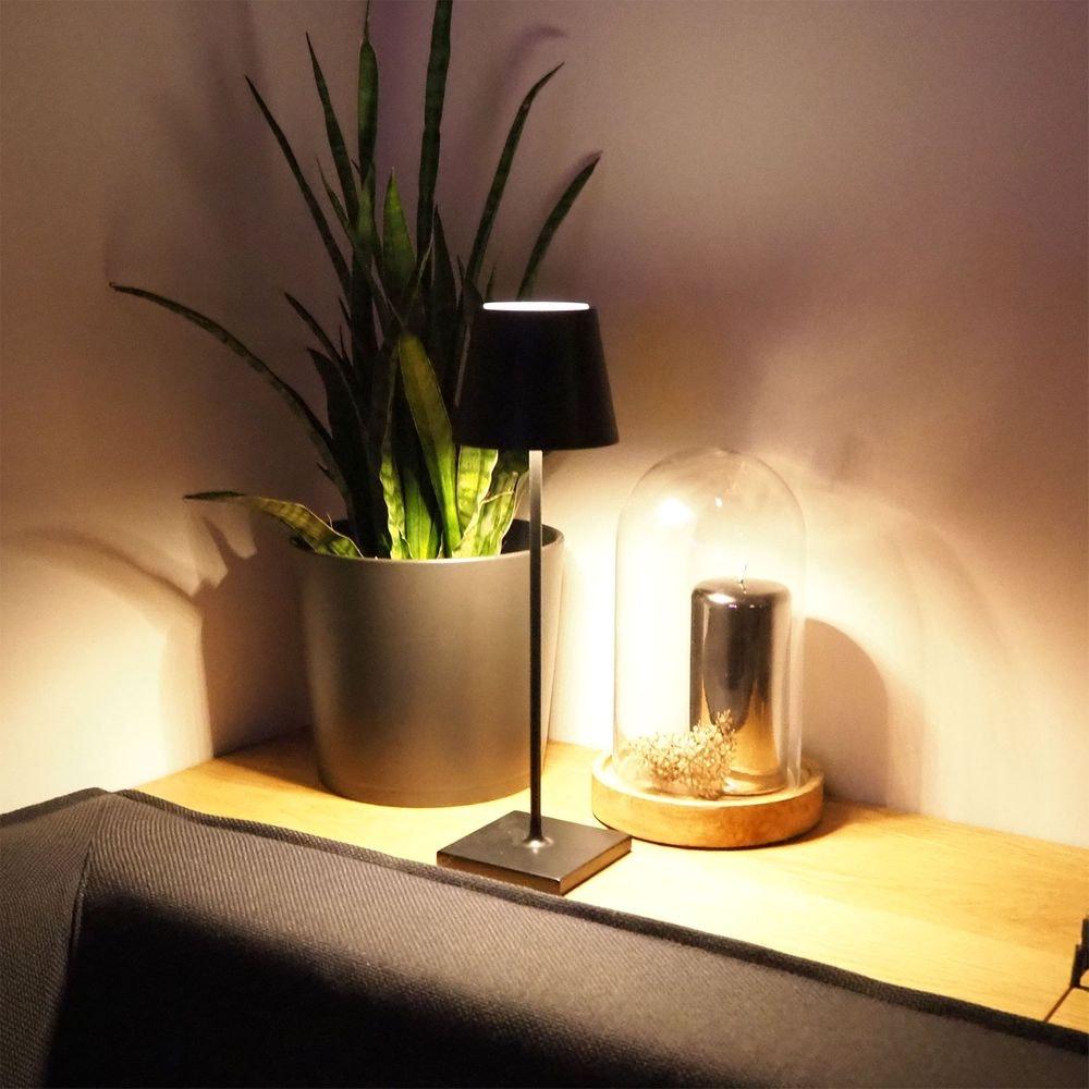 LED Akku Außen-Tischlampe Qutarg IP54 Dimmbar Schwarz thumbnail 5